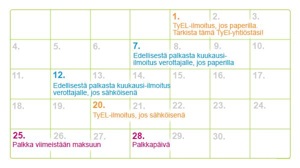Palkan maksamisen kalenteri